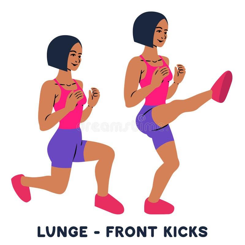 lunges Передние пинки Exersice спорта Силуэты женщины делая тренировку Разминка, тренируя иллюстрация вектора