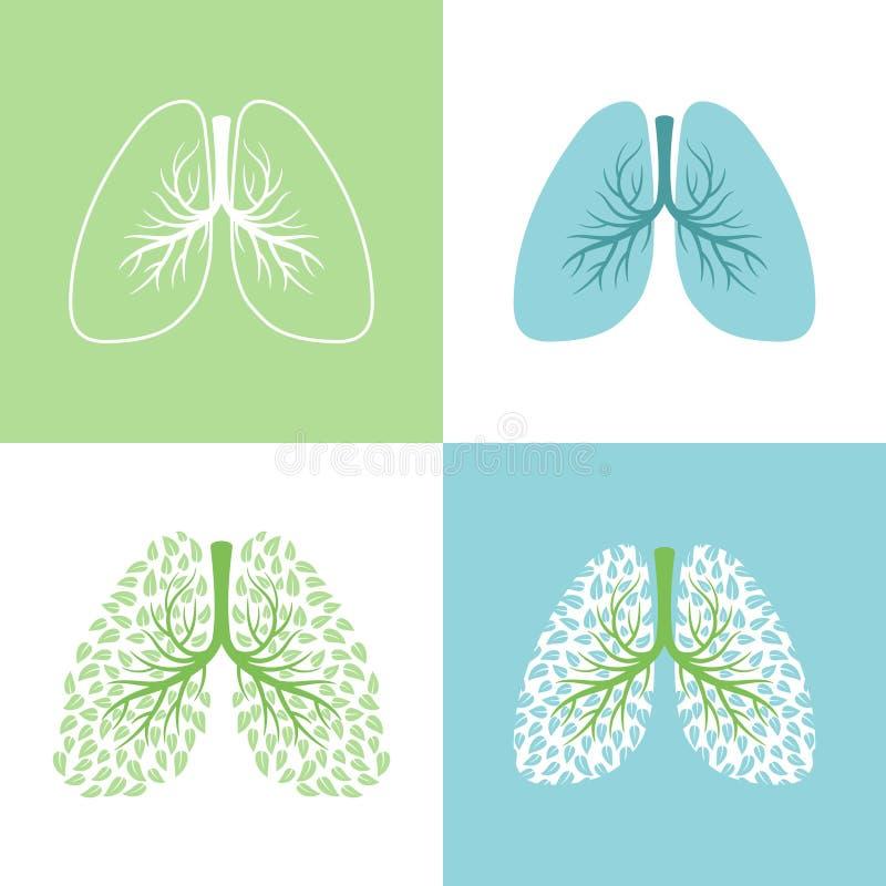 lunges ilustração do vetor do pulmão e do brônquio, árvore saudável dos pulmões com folhas, símbolos humanos da respiração dos br ilustração stock