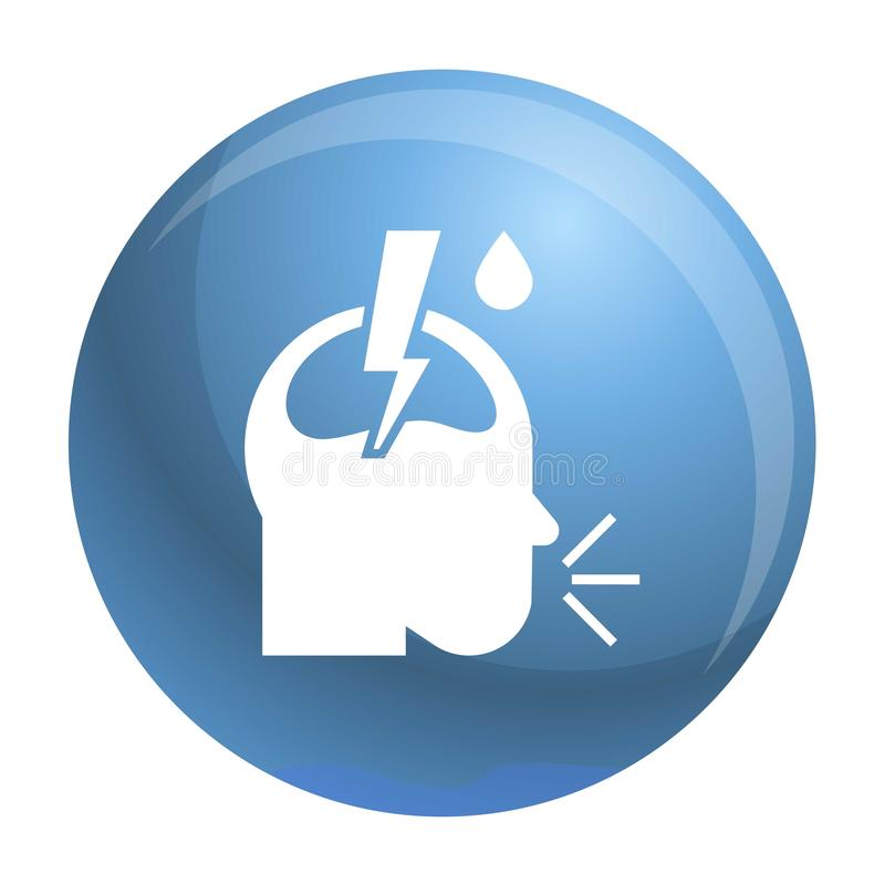 Lunginflammationhuvudvärksymbol, enkel stil stock illustrationer