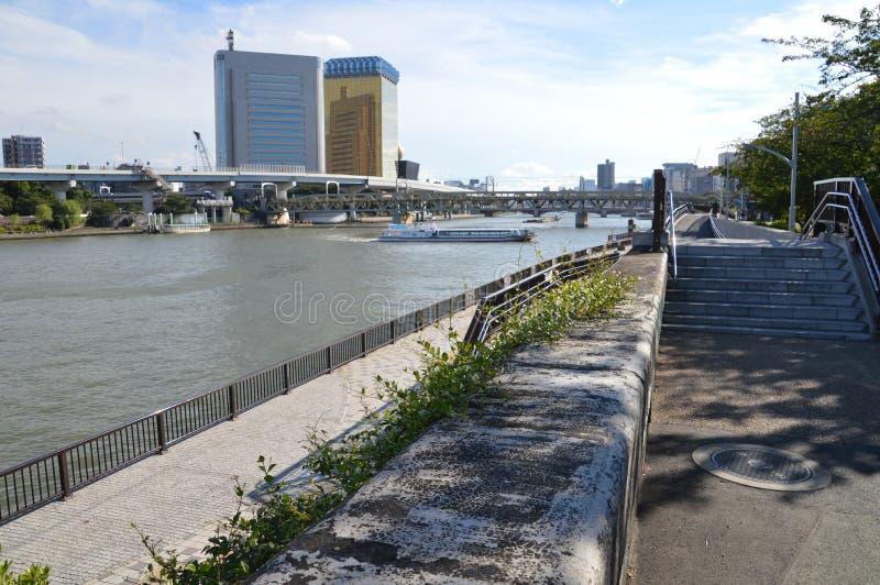 Lungo il fiume Tokyo Giappone 2016 di Sumida fotografie stock