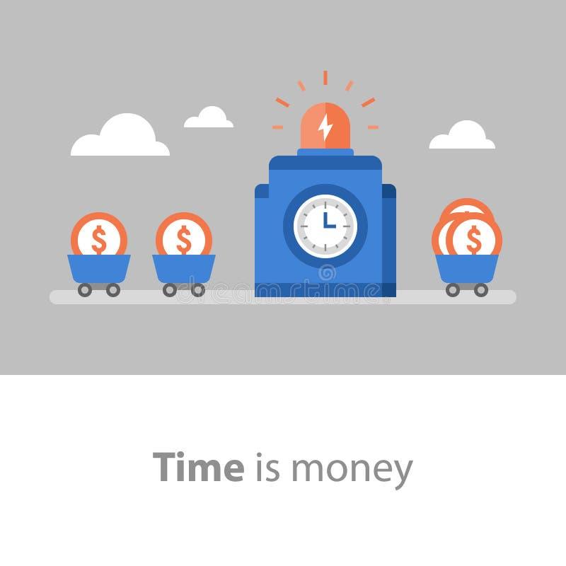 Lungo termine, gestione di fondo, Il tempo è denaro, ritorno su investimento, raccolta di fondi, aumento del reddito, tasso di in royalty illustrazione gratis