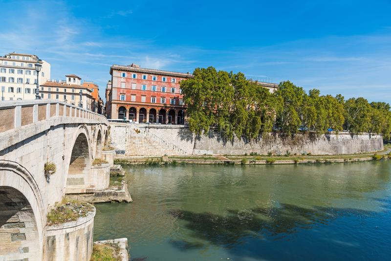 Lungo Tevere under a clear sky in Rome. Italy royalty free stock photo
