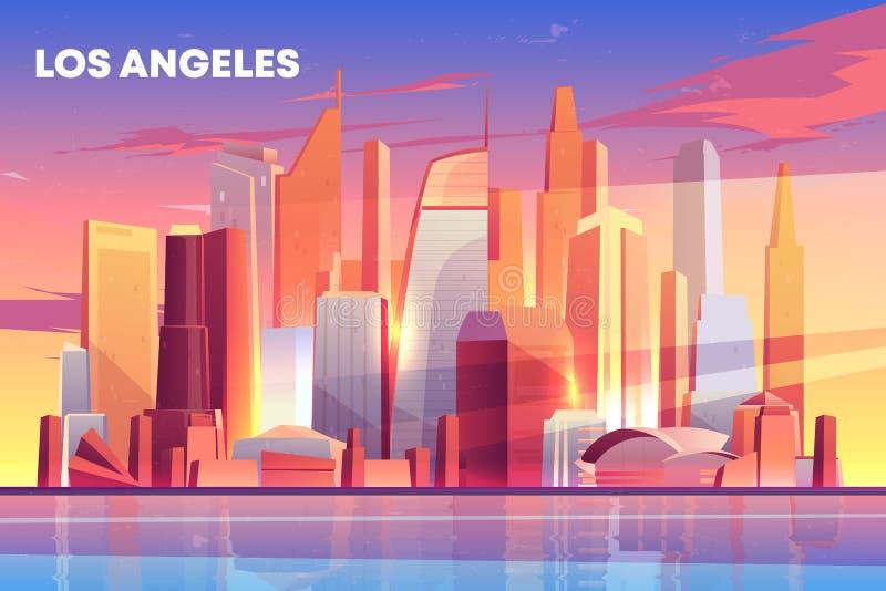 Lungomare di architettura dell'orizzonte della città di Los Angeles illustrazione di stock