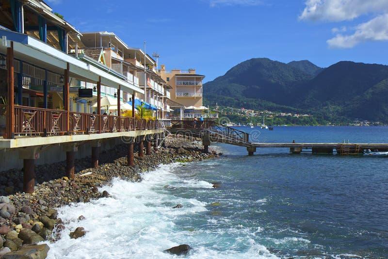 Lungomare di Roseau in Dominica, caraibica fotografia stock libera da diritti