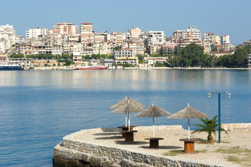 Lungomare di Saranda, Albania fotografia stock