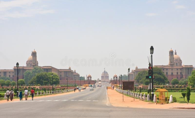 Lungomare Rajpath Residenza del presidente dell'India NUOVA DELHI fotografie stock libere da diritti