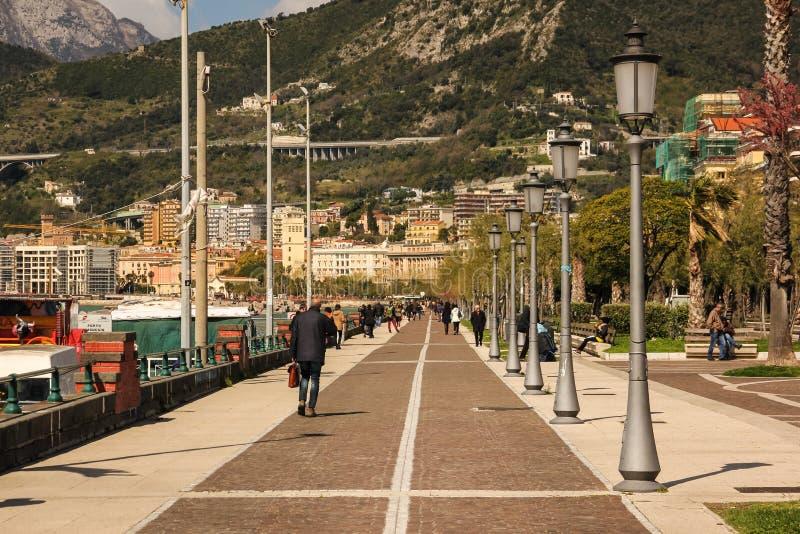 Lungomare Trieste. Salerno. Italy royalty free stock image