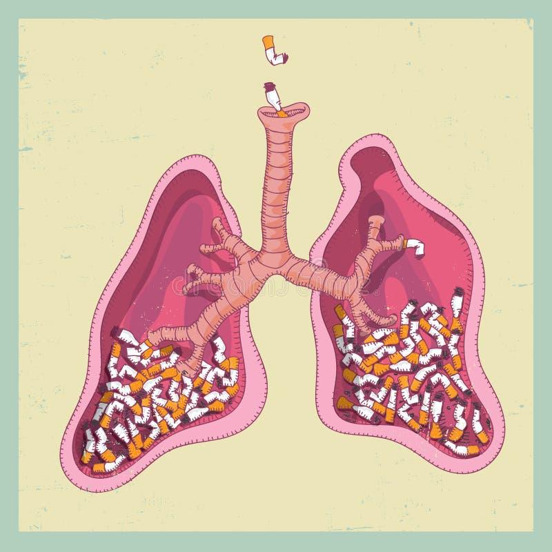 Lungor mycket av inga cigaretter - röka stock illustrationer