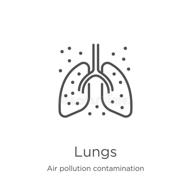 Lungs icon vector from air pollution contamination collection. Thin line lungs outline icon vector illustration. Outline, thin. Lungs icon. Element of air stock illustration
