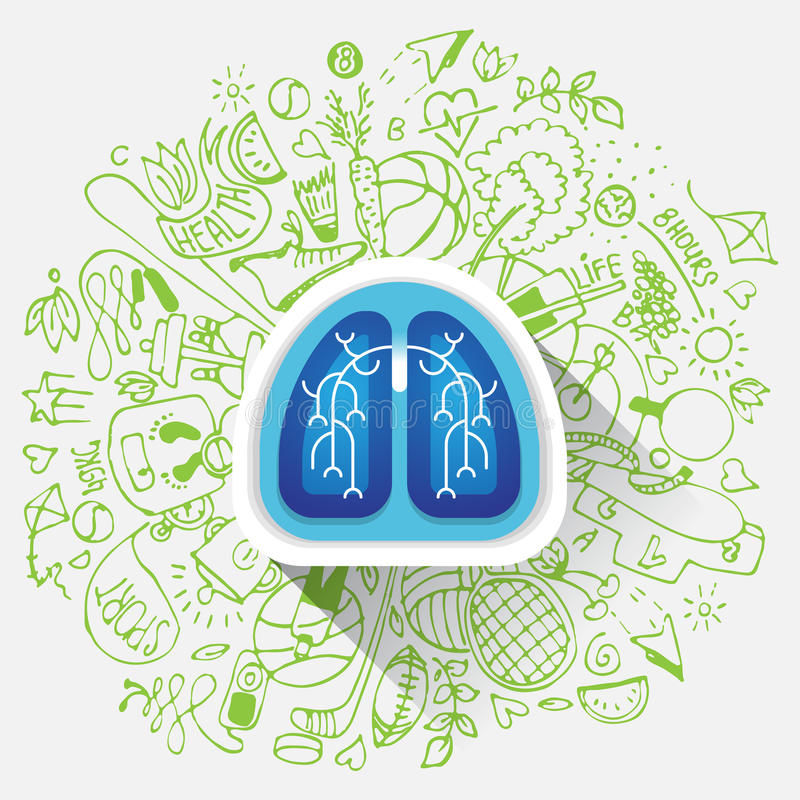 Free Lungs Illustration - Halth Care Sketch With Sport Icons And Lung Stock Photos - 88664803