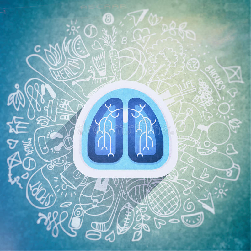 Free Lungs Illustration - Halth Care Sketch With Sport Icons And Lung Royalty Free Stock Photo - 92282505