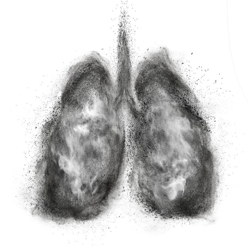 Lungs made of black powder explosion isolated on white royalty free stock photos