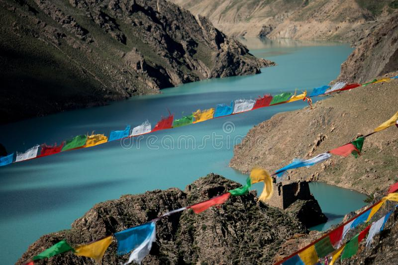 Lungta above Mountain Lake Himalayas Tibet royalty free stock photos