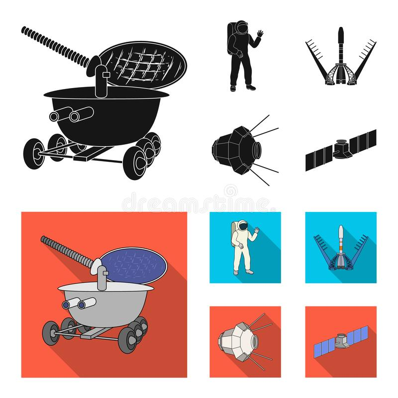 Lunokhod, space suit, rocket launch, artificial Earth satellite. Space technology set collection icons in black,flat. Style vector symbol stock illustration stock illustration