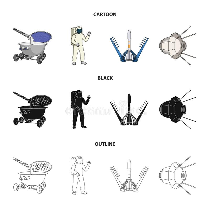 Lunokhod, space suit, rocket launch, artificial Earth satellite. Space technology set collection icons in cartoon,black. Outline style vector symbol stock stock illustration