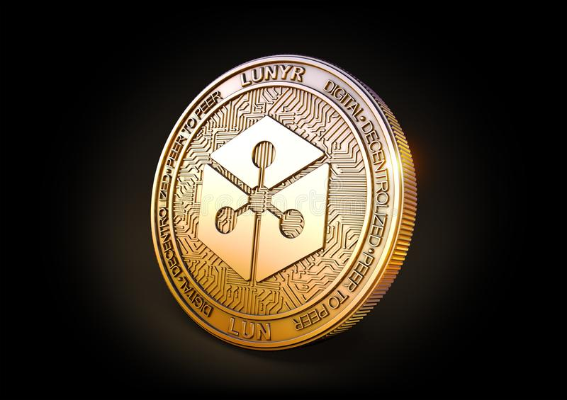 Lunyr - Cryptocurrency Coin. 3D rendering. Lunyr LUN - Cryptocurrency Coin on Black Background. 3D rendering vector illustration