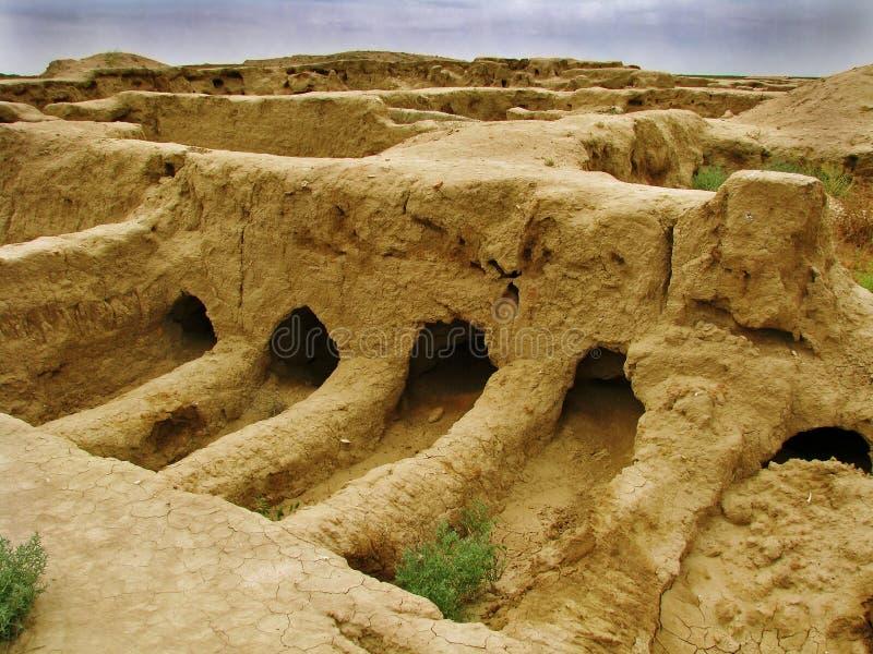 Luogo di GONUR-Depe - del Turkmenistan, posto di sepoltura dell'elite immagine stock