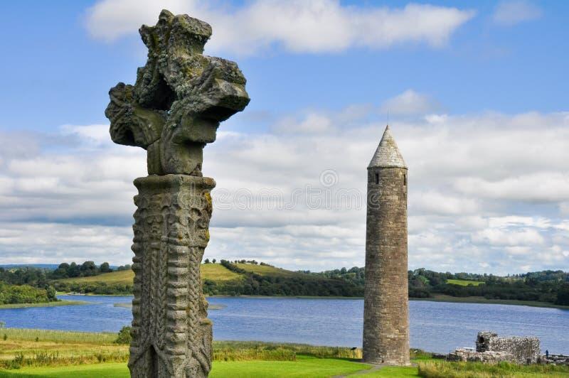 Luogo monastico dell'isola di Devenish, Irlanda del nord fotografia stock libera da diritti