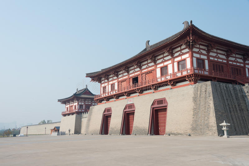 LUOYANG, CHINA - NOV 18 2014: Dingding Gate, Luoyang City of the. Sui and Tang Dynasty. UNESCO World heritage site in Luoyang, Henan, China stock photo