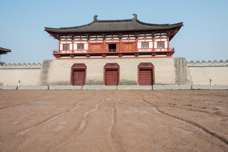 LUOYANG, CHINA - NOV 18 2014: Street Remains Outside Dingding Ga. Te from the Sui and Tang Dynasty. UNESCO World heritage site in Luoyang, Henan, China stock photo