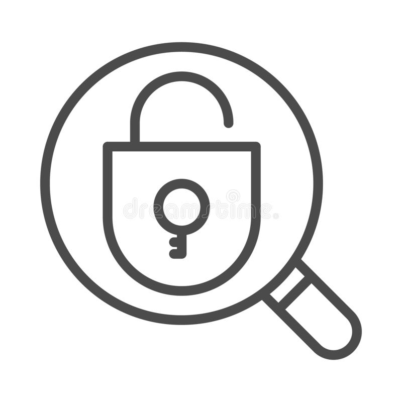 Lupa com ícone aberto do cadeado e no fundo branco ilustração stock