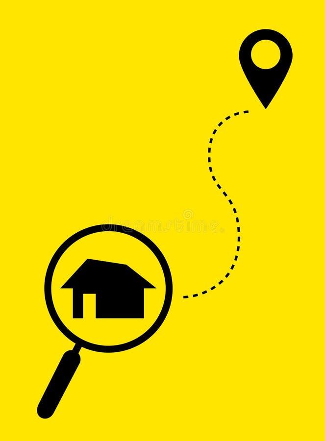 Lupa con el hogar en la ubicación del mapa y del icono Casa del hallazgo Estilo plano Vector ilustración del vector