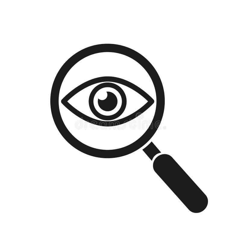 Lupa con el icono del esquema del ojo Encuentre el icono, investigue el s?mbolo del concepto Ojo con la lupa Aspecto, aspecto, mi libre illustration