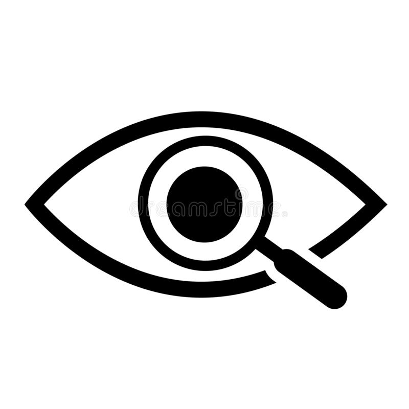 Lupa con el icono del esquema del ojo Encuentre el icono, investigue el s?mbolo del concepto Ojo con la lupa Aspecto, aspecto, mi ilustración del vector
