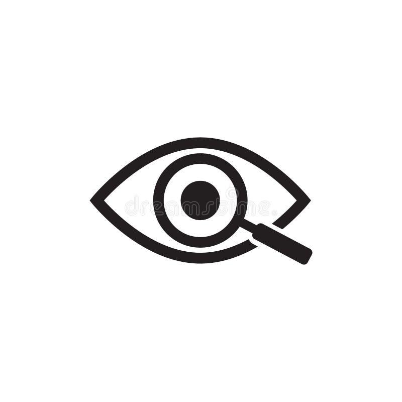 Lupa con el icono del esquema del ojo Encuentre el icono, investigue el s?mbolo del concepto Ojo con la lupa Aspecto, aspecto ilustración del vector