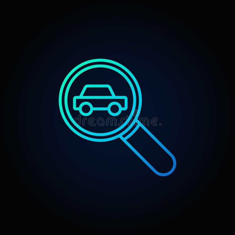 Lupa con un icono del coche ilustración del vector