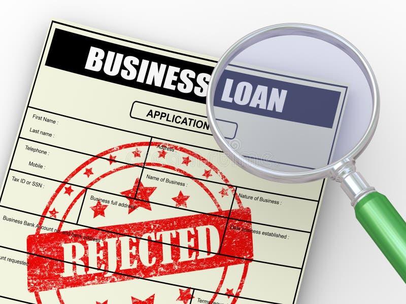 lupa 3d sobre el uso de préstamo rechazado libre illustration