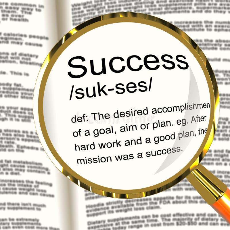 Lupa de la definición del éxito que muestra logros fotografía de archivo libre de regalías