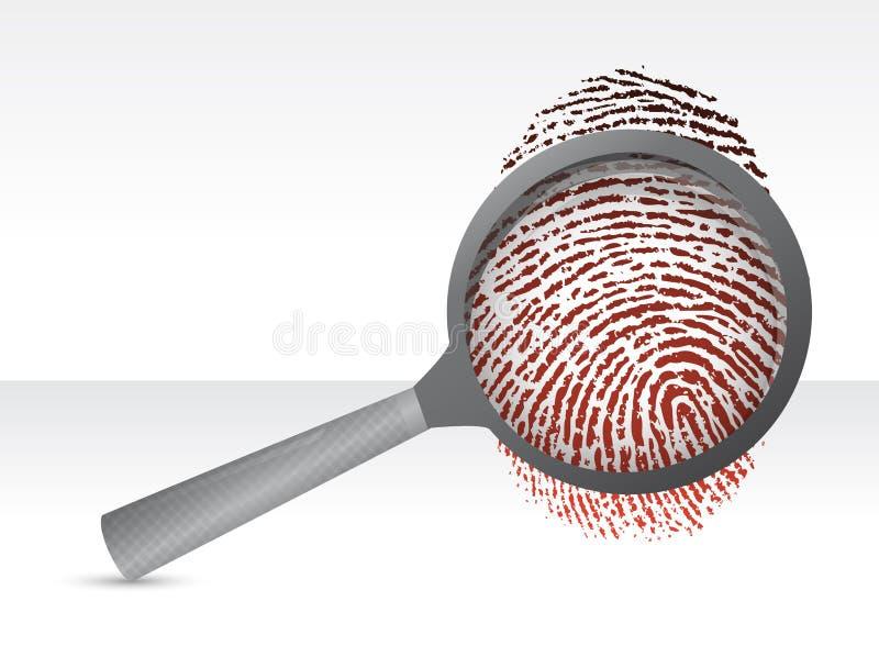 Lupa de los detectives con la huella dactilar stock de ilustración