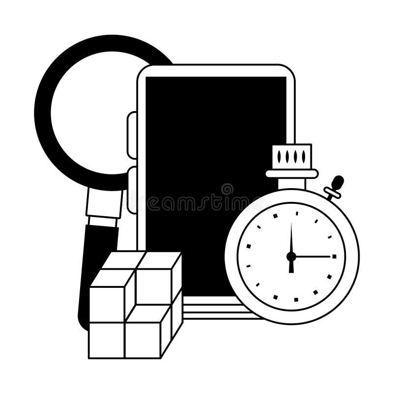 Lupa de Smartphone com temporizador e cubos em preto e branco ilustração royalty free