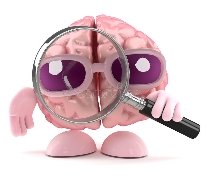 lupa del cerebro 3d ilustración del vector