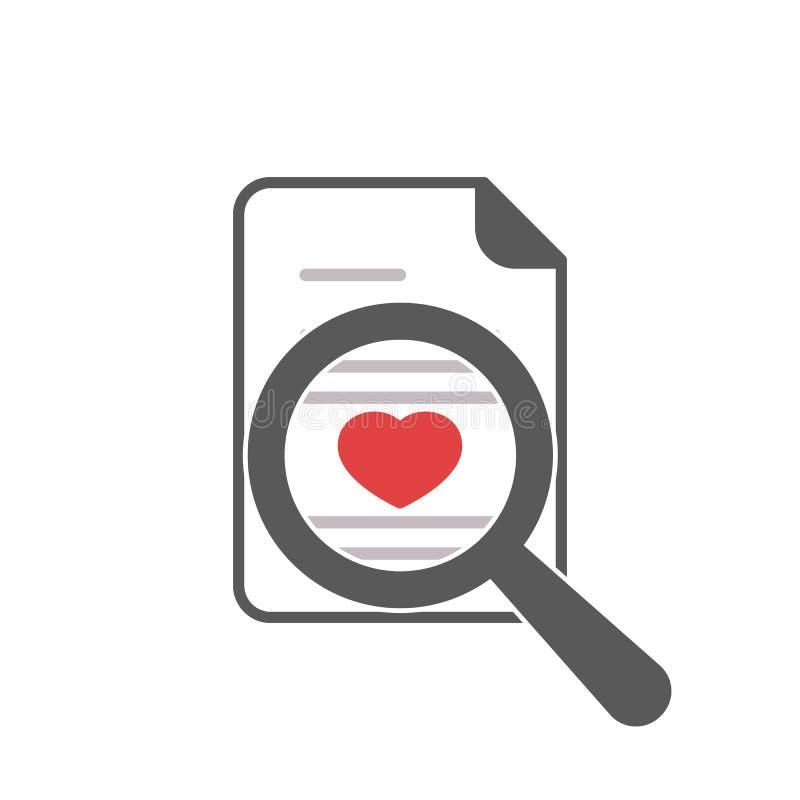 Lupa del icono del corazón ilustración del vector