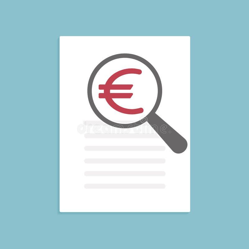 Lupa do ícone do Euro ilustração do vetor