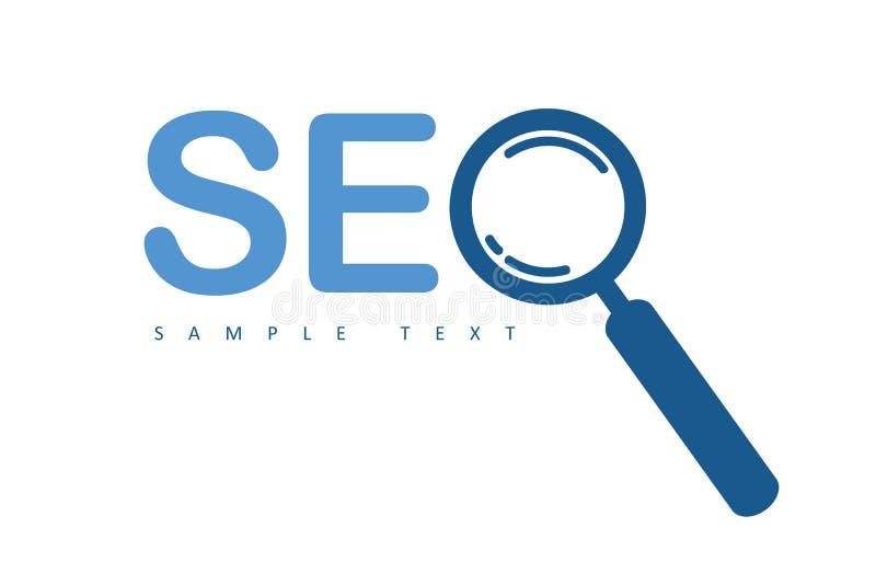 Lupa do projeto do logotipo de SEO ilustração royalty free
