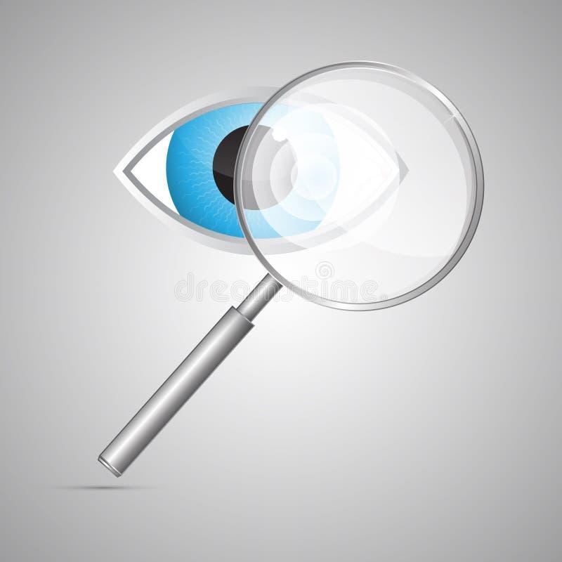 Lupa e olhos azuis do vetor ilustração stock