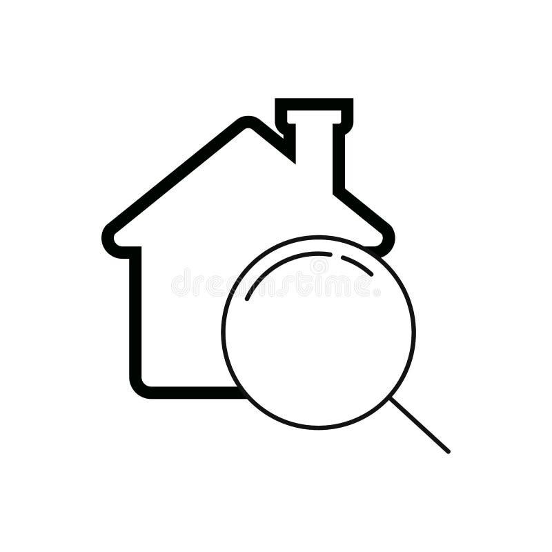 lupa e uma casa conceito da busca da casa ilustração royalty free