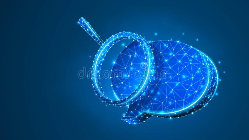 Lupa en burbuja de la charla Análisis de la comunicación, concepto de la nube del diálogo Extracto, digital, wireframe, malla pol stock de ilustración