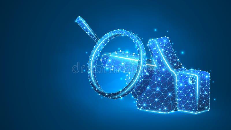 Lupa en una silueta de la mano, señalando el finger Análisis de la dirección, manera del negocio, concepto de la pantalla táctil  stock de ilustración