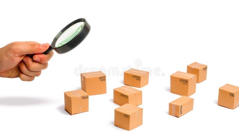 A lupa está olhando as caixas de cartão em um fundo branco enviando ordens aos clientes Armazém do terminado foto de stock
