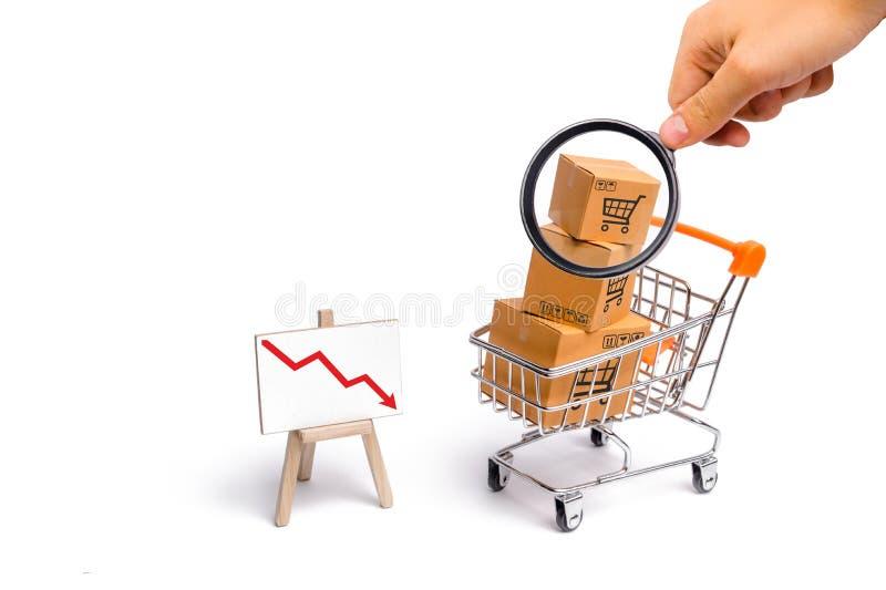 A lupa está olhando o carro do supermercado com caixas e um gráfico com seta vermelha para baixo, mercadoria Conceito da compra fotografia de stock