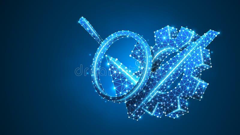 Lupa na engrenagem com sinal da marca de verificação Análise da tecnologia, projetando conceito aprovado Sumário, digital, wirefr ilustração stock