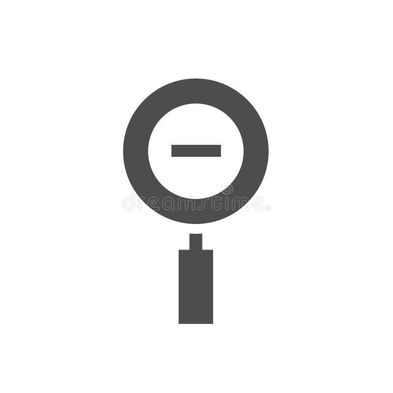 Lupa negra con el signo de menos aislado en blanco Icono de la lupa El enfoque hacia fuera abotona para las páginas web ilustración del vector