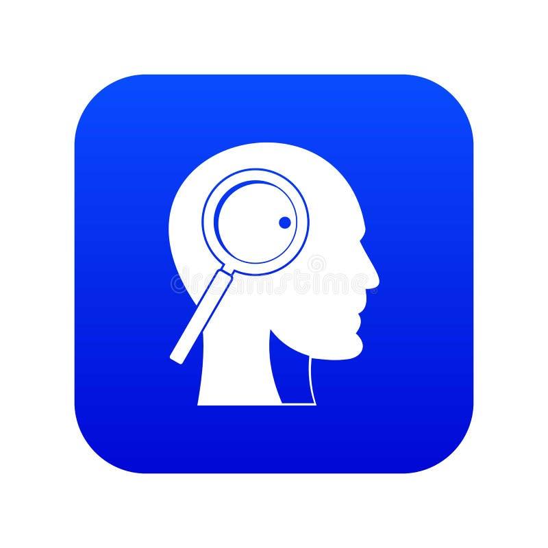 Lupa no azul digital do ícone principal ilustração royalty free