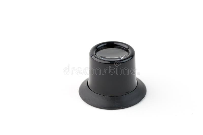 Lupa preta do relojoeiro no fundo branco fotografia de stock royalty free