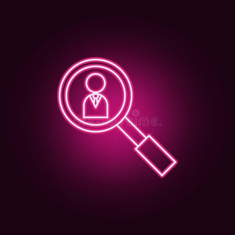 Lupa que busca el icono de neón de la gente Elementos del sistema del trabajo del equipo Icono simple para las p?ginas web, dise? ilustración del vector