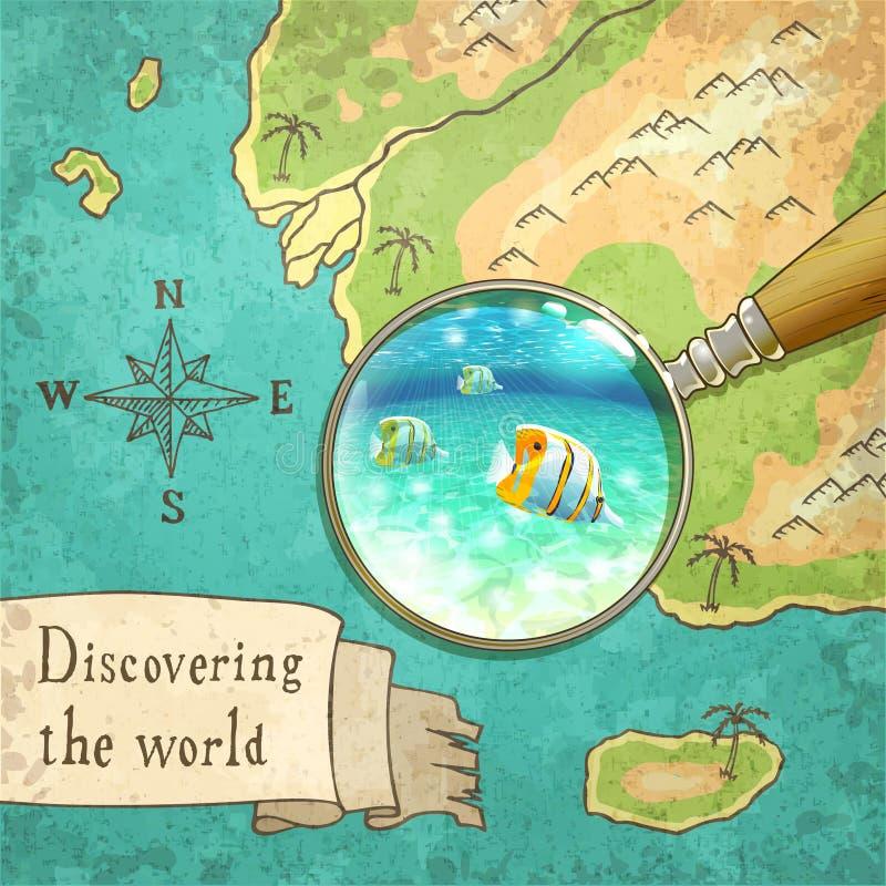 Lupa que muestra la naturaleza hermosa en el mapa, ejemplo, eps10 libre illustration